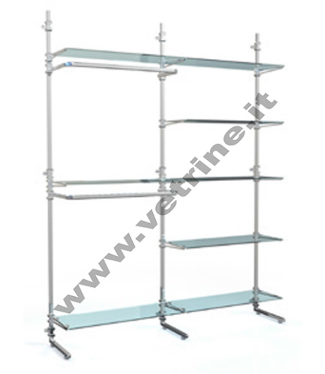 Parete attrezzata 6 piani vetro 2 appenderie - Scaffalature in legno ikea ...